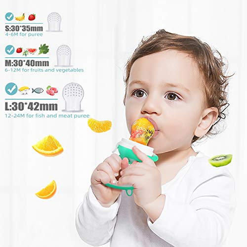 51c3BT7UIaL - SHARE&CARE Baby Teething Toys And Natural Organic Food Feeder Pacifier/Baby Teether Chew Toys Fresh Fruit Feeding/ 2 Teethers And 1 Feeder With 3 Silicone Sacs (Blue 2)