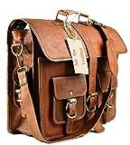 AOL Leather Laptop Messenger Retro Bag Vintage Office Briefcase College Bag 16 Inch