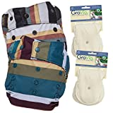 GroVia Experience Package: 2 Shells + 4 Organic Cotton Soaker Pads (Jewel + Fennec Snap)