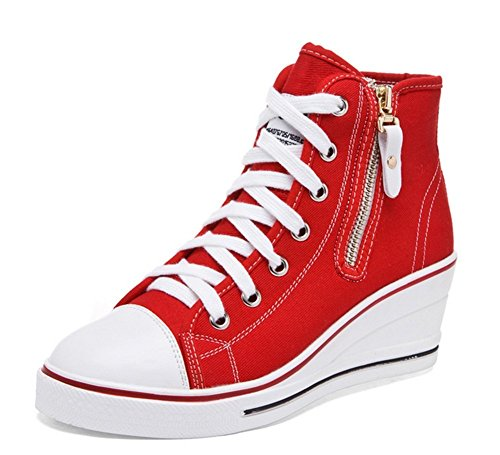 Chaussures Mode Baskets Lacet Femme Fermeture Tennis Compensées éclair PADGENE Sneakers Casuel Toile Montante Rq41wxY