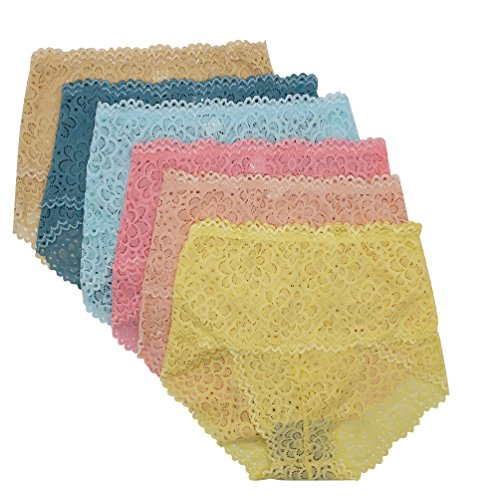 Light Blue Stretch Lace Panty - WBENG Sexy High Waist Bamboo Fiber Panties for Women 6 Pack Multi Colors One Size Breathable Underwear