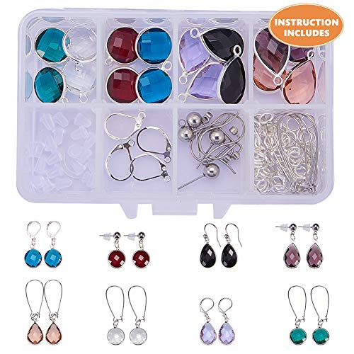 SUNNYCLUE 1 Box DIY 8 Pairs Silver Tone Brass Faceted Gemstone Tear Drop Dangle Earrings Making Starter Kits Jewelry Arts Craft Making Supplies Kit Instruction for Girls Adults Teens Beginners