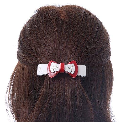 Pince à cheveux Noeud cristal acrylique rouge/blanc