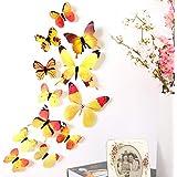 12pcs 3D Butterfly Rainbow Decal Wall Stickers Vivid Cardboard Paper Art Crafts Decals Butterflies Home DIY Improvement Decor Mural Wall Decorations (Yellow)