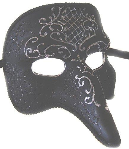 Costume Pulcinella (KBW Venetian Mask Full Face Pulcinella Solid Black &)