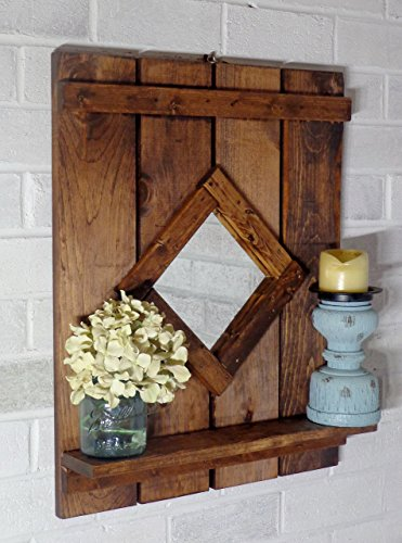 Renewed Decor Diamond Wood Mirror with Shelf - Wall Mirror - Rustic -