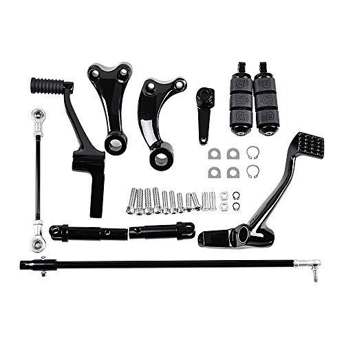 (Completed Kit Forward Controls Compatible with Harley Sportster XL883 XL1200 (Black, 2014-2018))