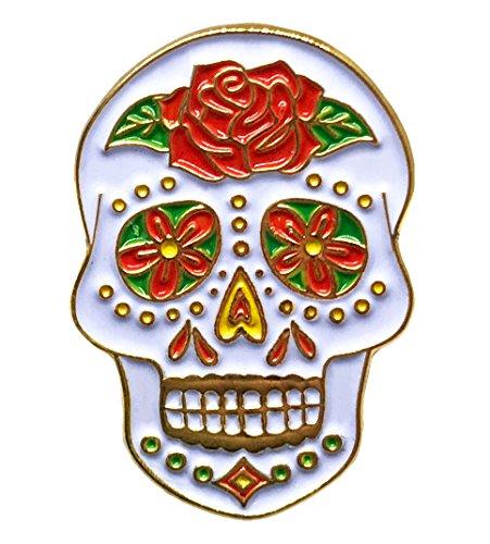 French Kiss Costume Ideas (Sugar Skull Lapel Pin - Halloween Dead Brooch - Bone Pirate - Funny Jacket Hat Pin)