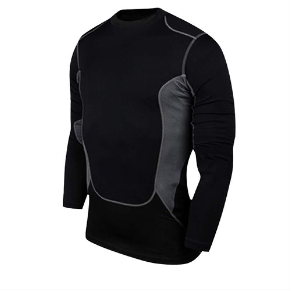 noir M NUASH EntraîneHommest Soccer Jersey Gilet Compression Fitness T-Shirt Costume Serré Costume De Sport Maigre Chemises Longues pour Hommes