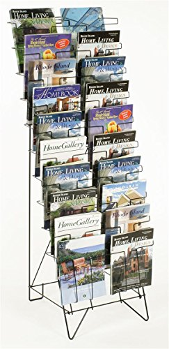 Displays2go Tiered Black Wire Magazine Rack, Free Standing Floor Fixture with 20 Stacked Pockets, Sign Slot (Office Magazine Rack)