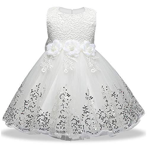 12Yrs Baby Big Bow Tutu Princess Dress for Girl Elegant Flower Birthday Party Girl Dress Baby Girl's Christmas,White,11]()