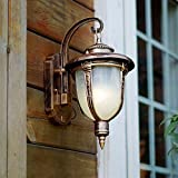 CGJDZMD Wall Sconce European Retro Creative Outdoor Balcony Waterproof Outdoor Courtyard Aisle Stairs Wall Lamp with Plexiglass Lampshade Wall Light ( Color : Brass )