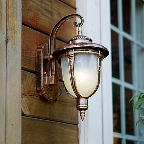 CGJDZMD Wall Sconce European Retro Creative Outdoor Balcony Waterproof Outdoor Courtyard Aisle Stairs Wall Lamp with Plexiglass Lampshade Wall Light ( Color : Brass ) by CGJDZMD