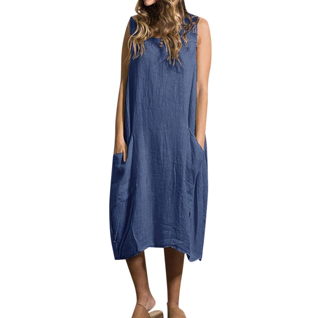 Zaidern Women Dress Women's Summer Sleeveless Style Feminino Vestido Cotton Casual Plus Size Ladies Dresses Sundress Blue