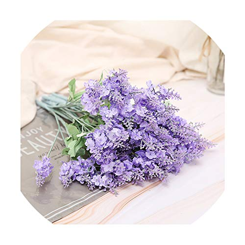 Utensil-Shop 10 Heads Artificial Lavender Silk Flower Bouquet Wedding Home Party Decor for Display Spring Vivid Leaf Real Touch Fake Flowers,Purple - Hello 1 Light Pendant