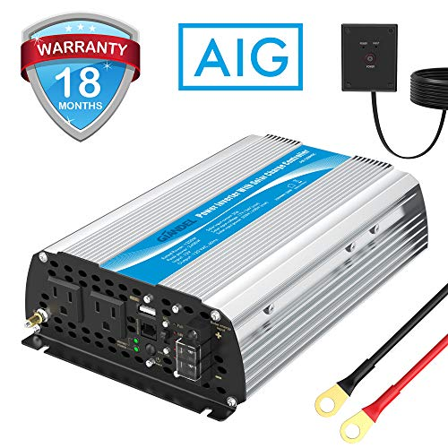 1200W Power Inverter DC12 Volt to AC 120 Volt with 20A Solar Charge Controller and Remote Control USB Port for RV Truck Solar System