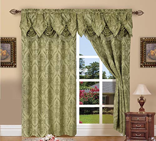 Elegant Comfort Penelopie Jacquard Look Curtain Panel Set with with Attached Waterfall Valance, Set of 2, 54x84 Inches, Sage Green