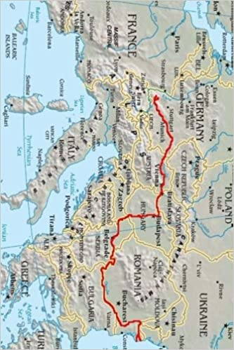 Danube River Map Of Europe.Map Of The Danube River Path In Europe Journal Take Notes Write