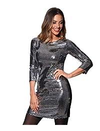 KRISP Women Sequin Bodycon Mini Dress Ladies Cocktail Party Shift Club Disco Tunic