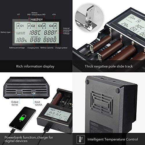 18650 Battery Charger,MiBOXER LCD Display Speedy Smart Charger Universal Charger Battery (C412)