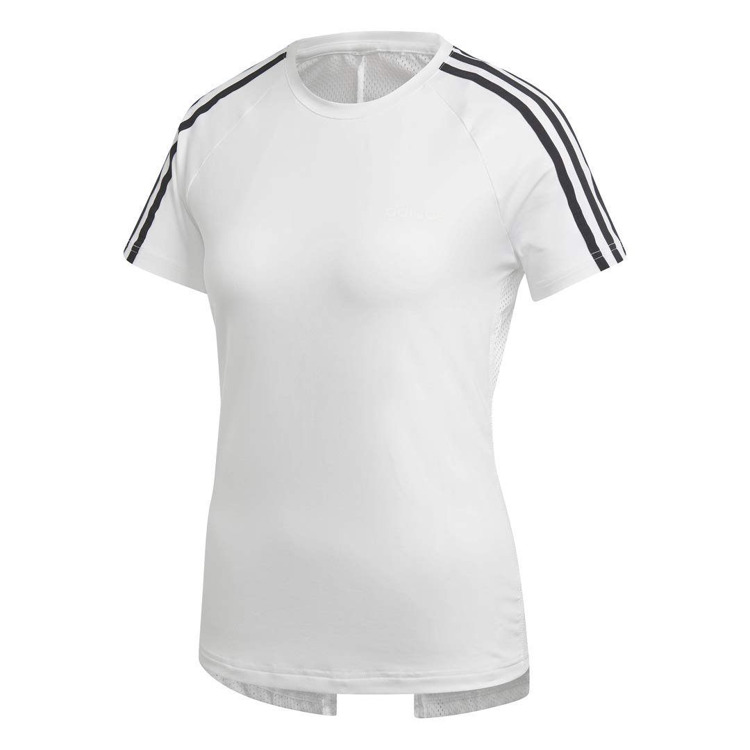 adidas Women's Designed 2 Move 3-Stripes Training Tee, White/Black, XX-Large by adidas