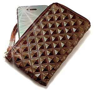"""""""Princesa"""" Marrón, Lujosa billetera de cuero de imitación acolchonado con cierre para LG GB250. Auténtica Funda / Estuche con correa para transportar para teléfonos móviles."""