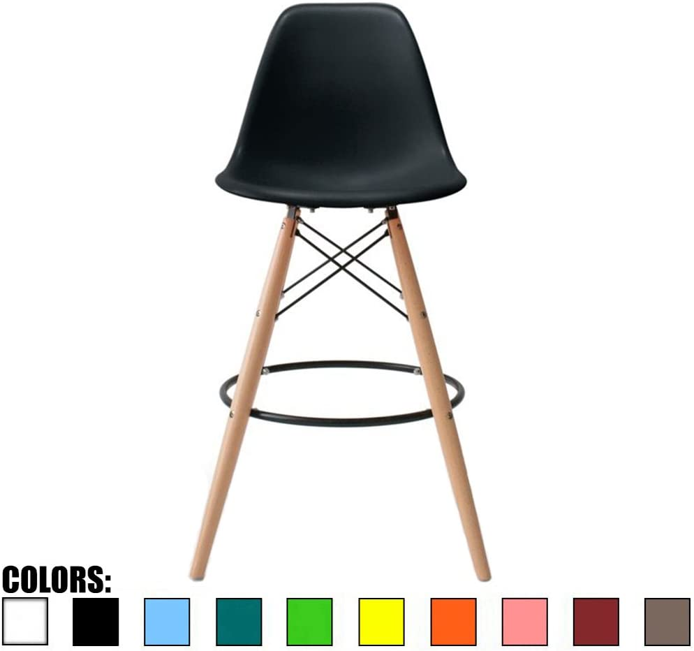 2xhome – Black – 25 Seat Height DSW Molded Plastic Bar Stool Modern Barstool Counter Stools with Back and armless Natural Legs Wood Eiffel Legs Dowel-Leg