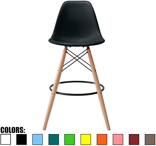 2xhome Eames Style Modern Mid Century Armless With Back Bar Stool Height Counter Chair With Natural Wood Legs, 28 , Clear,1 piece
