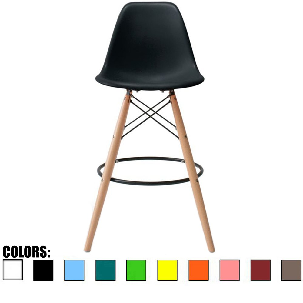 2xhome - Black - 25'' Seat Height DSW Molded Plastic Bar Stool Modern Barstool Counter Stools with Back and armless Natural Legs Wood Eiffel Legs Dowel-Leg by 2xhome