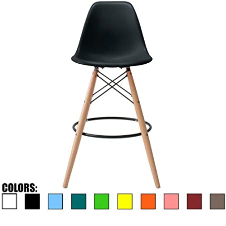 2xhome Charles Black Eames Style Modern Mid Century Armless with Back Counter Height Bar Stool Chair with Natural Wood Legs 25 ,