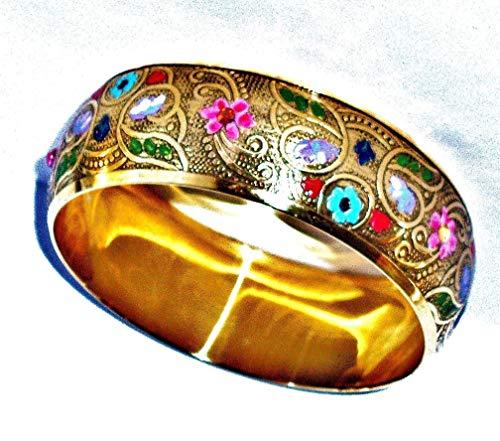 (Boho Indian Brass Bangle Bracelet With Painted Colorful Flowers and Swarovski Crystal Rhinestones )