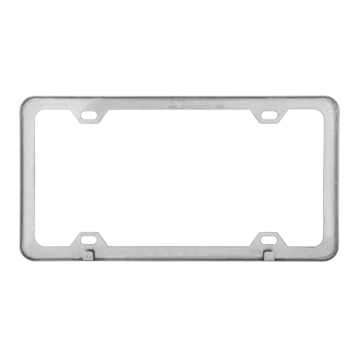 Grand General 60415 Black Semi-Gloss Powder Coated License Plate Frame with 4 Holes
