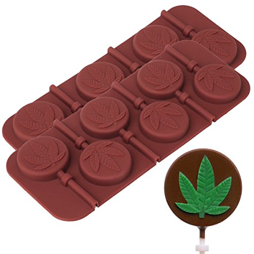 Marijuana Leaf Lollipop Silicone Candy Mold Tray, 2 Pack]()