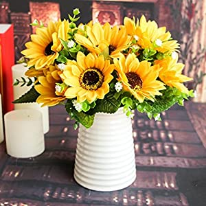 Adarl 1pc 7 Heads Artificial Sunflower Artificial Flower Silk Daisy Floral for Home Office Decor Party Festival Wedding Decoration Yellow 2
