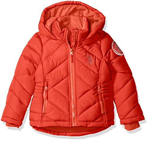 Bubble Red Coral (U.S. Polo Assn. Girls' Big Girls' Bubble Jacket with Hood, Red/Hot Coral Zipper, 14/16)