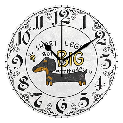 ALAZA Funny Dachshund Dog with Quote Round Acrylic Wall Clock, Silent Non Ticking Oil Painting Home Office School Decorative Clock ()