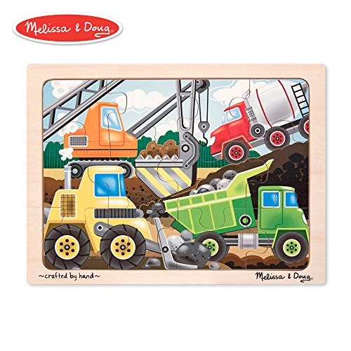 12 Piece Tray Puzzles - Melissa & Doug Construction Site Vehicles Wooden Jigsaw Puzzle With Storage Tray (12 pcs)