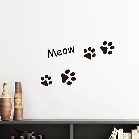 DIYthinker Cat Meow Animal Footprint Art Paw Print Silhouette Removable Wall Sticker Decals Mural Diy