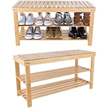 Lavish Home 83-59 Bamboo Shoe Rack Bench, 2 Shelf, Wood