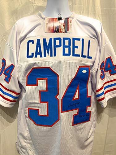 Earl Campbell Houston Oilers Signed Autograph White Custom Jersey JSA Witnessed Certified
