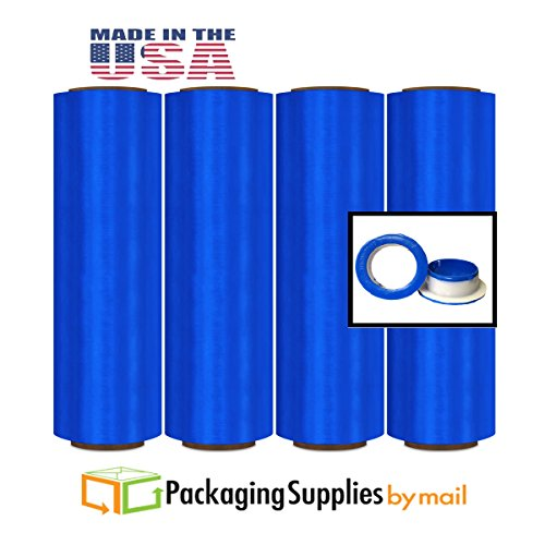 Blue Colored Stretch Wrap Film Pre-Stretch w/ Folded Edges 16'' x 1500', 8.5 Mic. 128 Rolls with Free Dispenser by PackagingSuppliesByMail