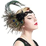 BABEYOND 1920s Flapper Peacock Feather Headband 20s Sequined Showgirl Headpiece (Style-4)