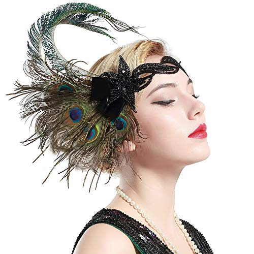 BABEYOND 1920s Flapper Peacock Feather Headband 20s Sequined Showgirl Headpiece (Style-4)]()
