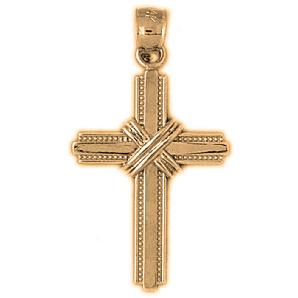 14K Yellow Gold-plated 925 Silver Roped Cross Pendant with 16 Necklace Jewels Obsession Cross Necklace