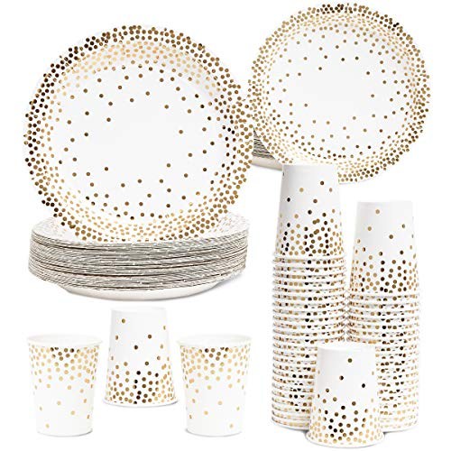 Birthday Treat Plate - Juvale Gold Foil Dots Party Pack for 50 Guests - Paper Dinner, Appetizer Plates, and Cups