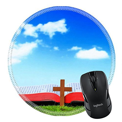 MSD Natural Rubber Mousepad Round Mouse Pad/Mat: 12527582 Shine Open Bible and cross On The Grass with sky background