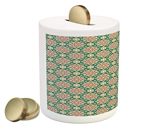 Border Design Mosaic - Ambesonne Eastern Piggy Bank, Vintage Mosaic Design of Florets Zigzag Borders Oval Details, Printed Ceramic Coin Bank Money Box for Cash Saving, Forest Green Pale Pink Peach