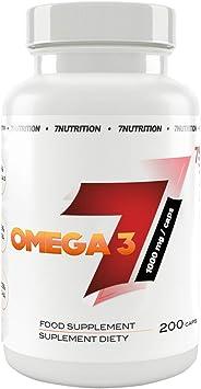 7Nutrition Omega 3 1000 mg 1 paquete - Ácidos grasos DHA y EPA - Con vitamina E - Ácidos grasos esenciales (200 Capsules): Amazon.es: Salud y cuidado personal