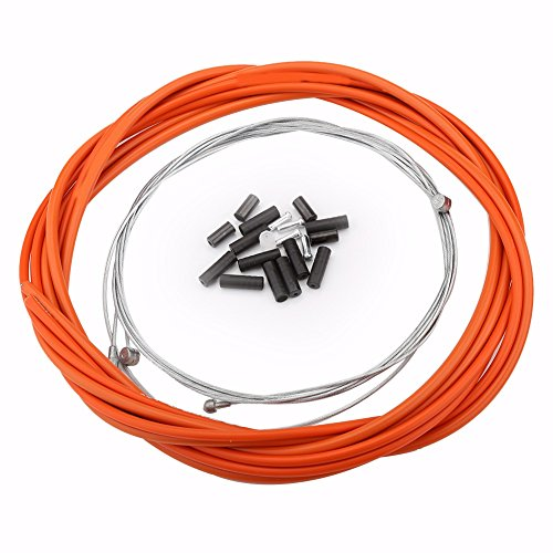 VGEBY Durable Mountain Bike Brake Cable Bicycle Replaceable Wire for Both Front Brake & Rear Brake With Housing Set, Ferrules (Color : Orange)