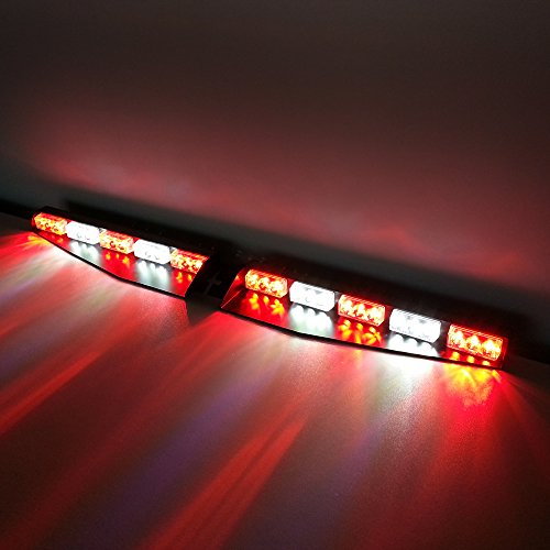 VSLED 2 x 15 LED 1 Watt Emergency Beacon Light Bar Exclusive Split Visor Deck Dash Hazard Strobe Warning LightBar Red/White/Red/White/Red